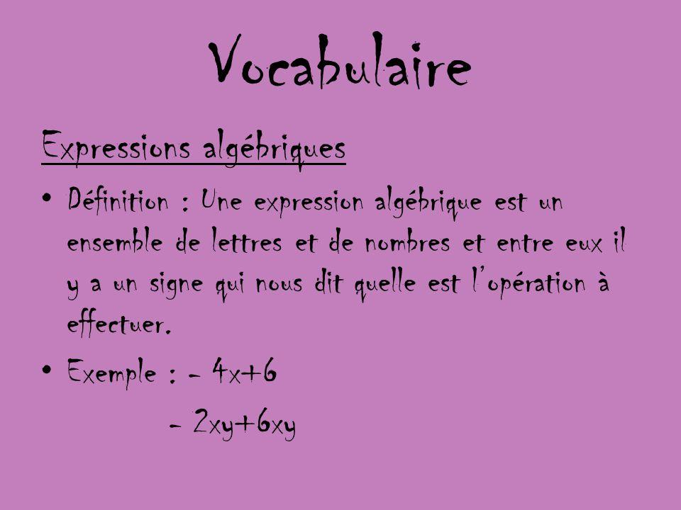 Vocabulaire Expressions algébriques