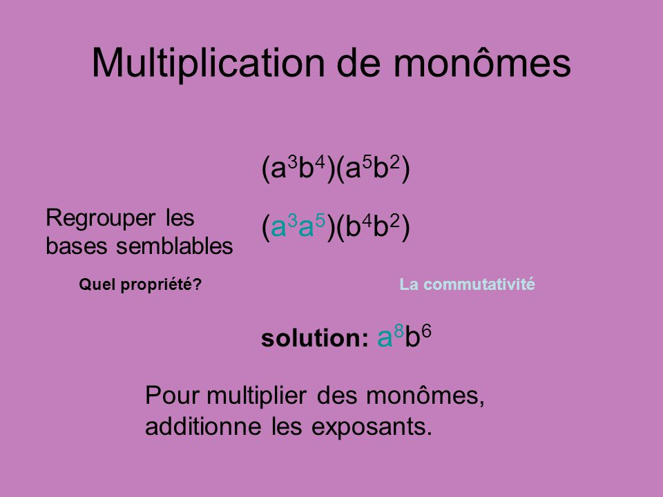 Multiplication de monômes