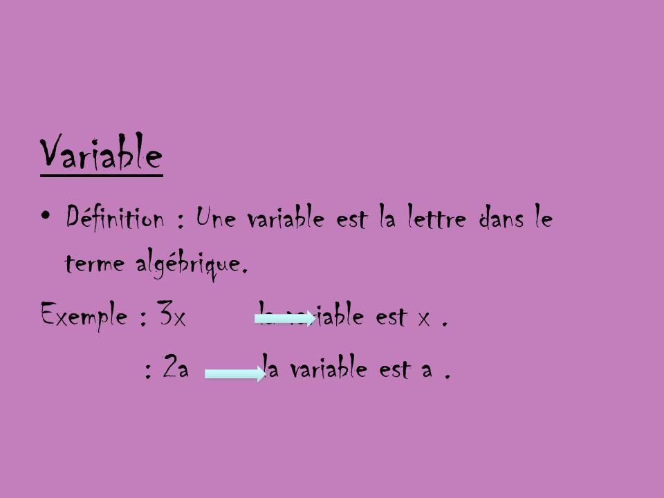 Variable Définition : Une variable est la lettre dans le terme algébrique. Exemple : 3x la variable est x .
