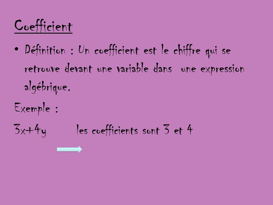 Coefficient Définition : Un coefficient est le chiffre qui se retrouve devant une variable dans une expression algébrique.