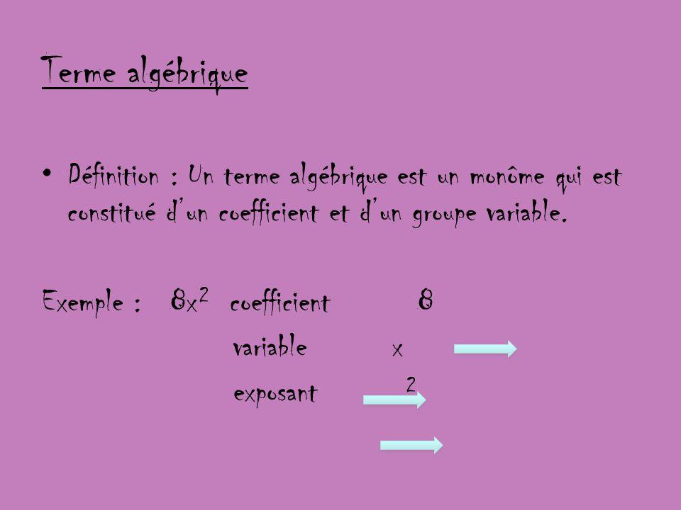 Terme algébrique Définition : Un terme algébrique est un monôme qui est constitué d'un coefficient et d'un groupe variable.