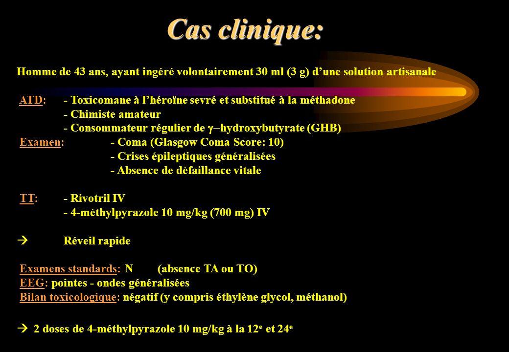 Cas clinique:Homme de 43 ans, ayant ingéré volontairement 30 ml (3 g) d'une solution artisanale.