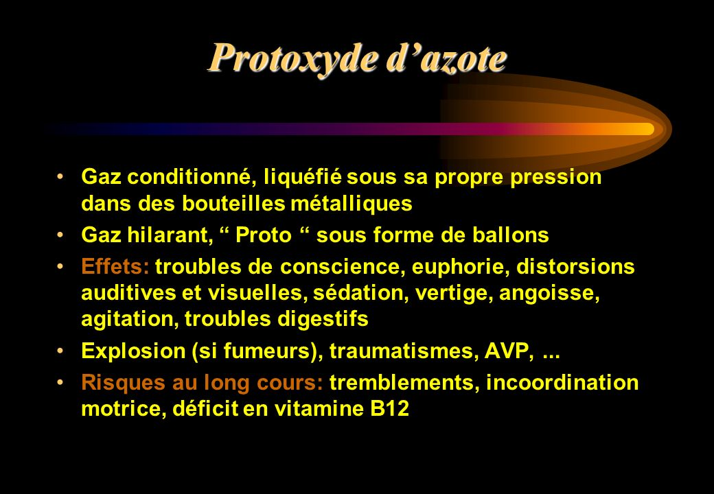 Protoxyde d'azoteGaz conditionné, liquéfié sous sa propre pression dans des bouteilles métalliques.