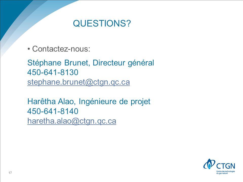 Questions Contactez-nous: Stéphane Brunet, Directeur général