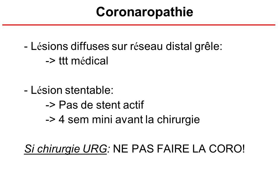 Coronaropathie Lésions diffuses sur réseau distal grêle: