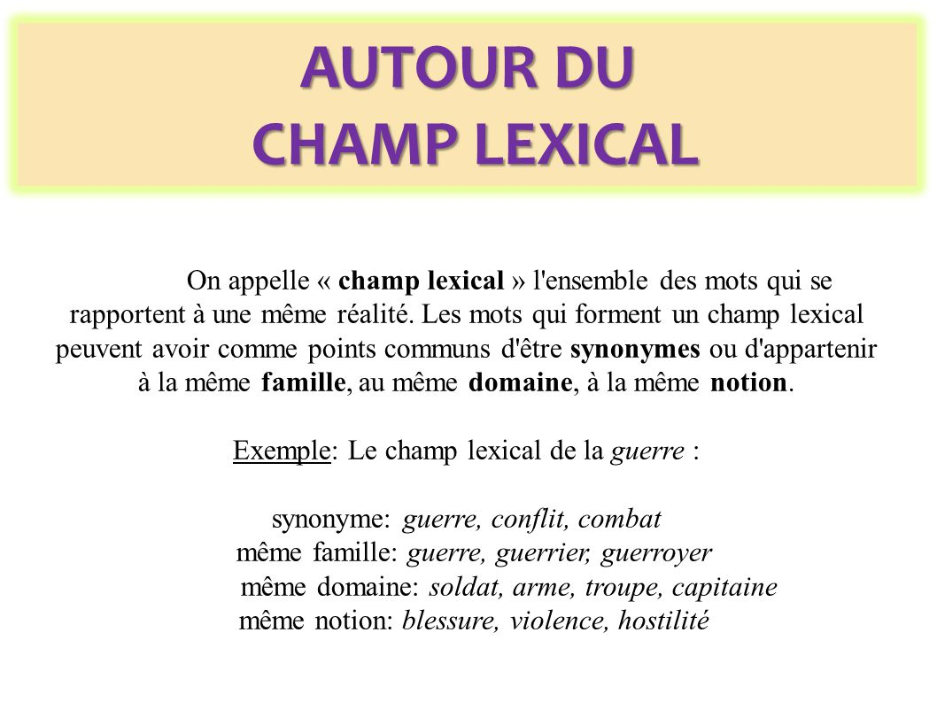 Exemple: Le champ lexical de la guerre :
