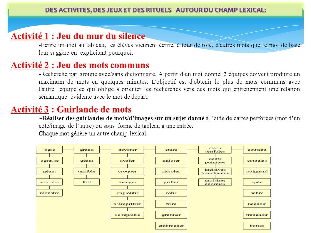 DES ACTIVITES, DES JEUX ET DES RITUELS AUTOUR DU CHAMP LEXICAL: