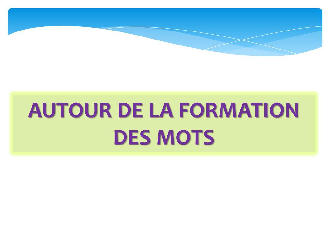 AUTOUR DE LA FORMATION DES MOTS