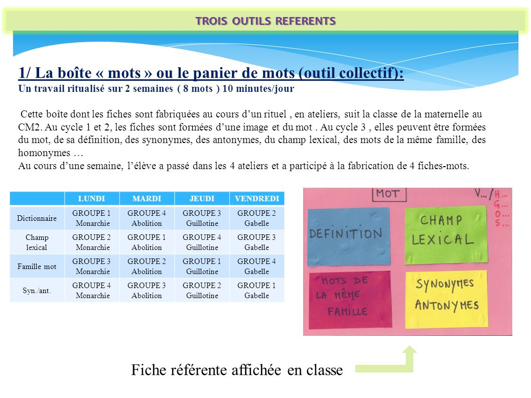 TROIS OUTILS REFERENTS