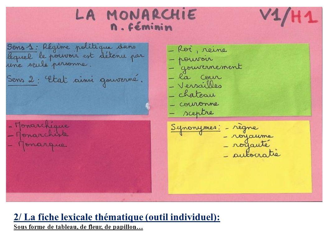2/ La fiche lexicale thématique (outil individuel):