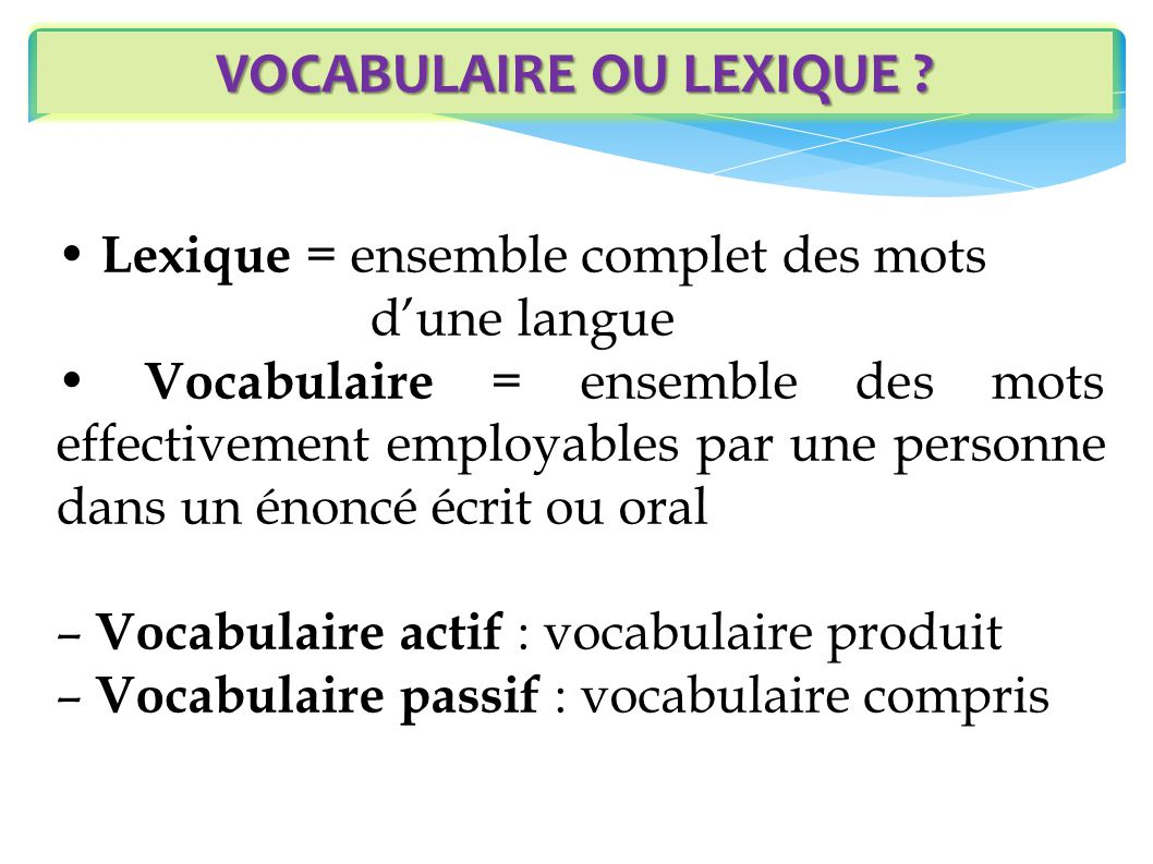 VOCABULAIRE OU LEXIQUE
