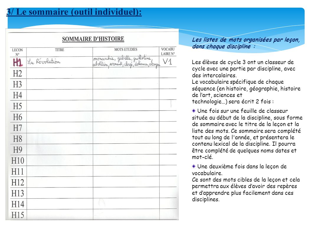 3/ Le sommaire (outil individuel):