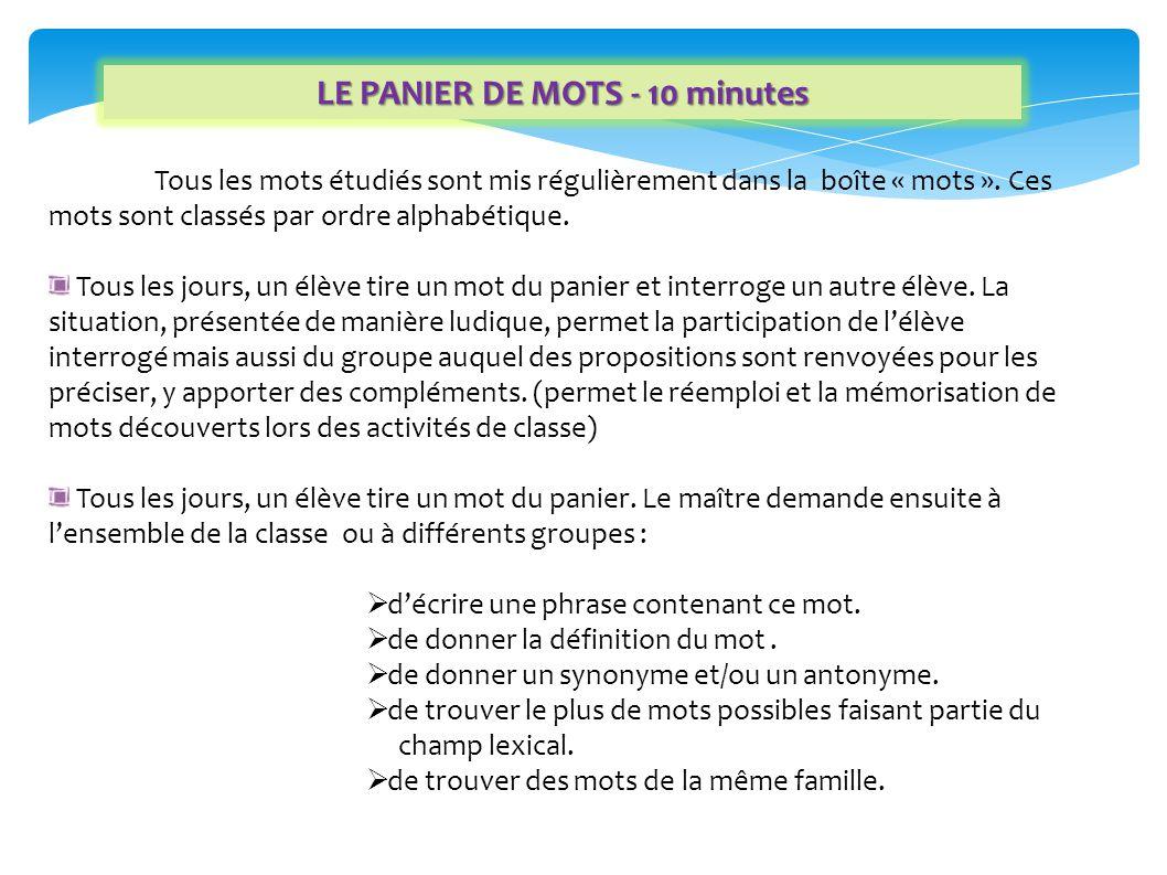 LE PANIER DE MOTS - 10 minutes