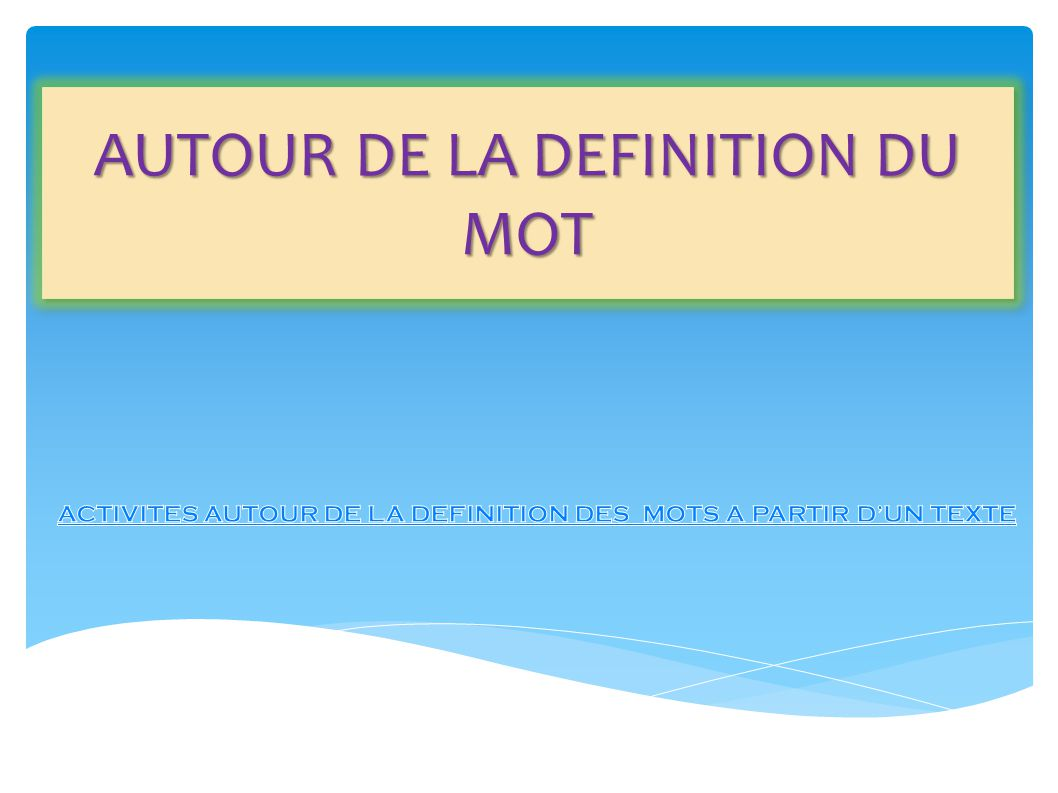 le lexique au cycle 3 problematique ppt t l charger