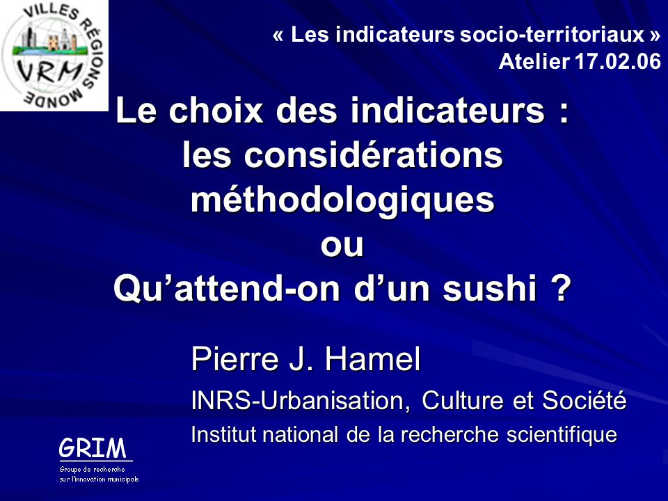 « Les indicateurs socio-territoriaux » Atelier 17.02.06