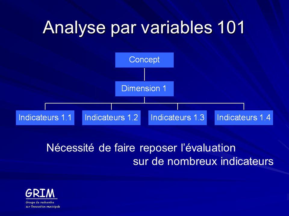 Analyse par variables 101 Nécessité de faire reposer l'évaluation
