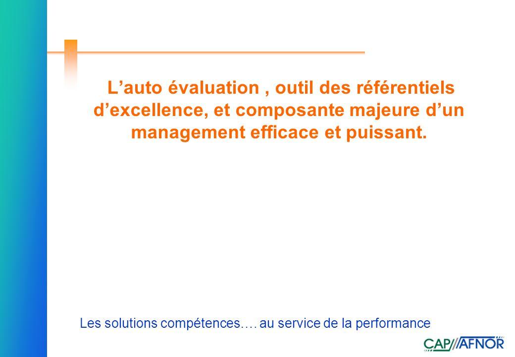 L'auto évaluation , outil des référentiels d'excellence, et composante majeure d'un management efficace et puissant.