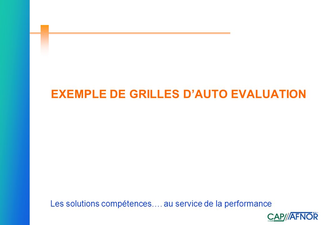 EXEMPLE DE GRILLES D'AUTO EVALUATION
