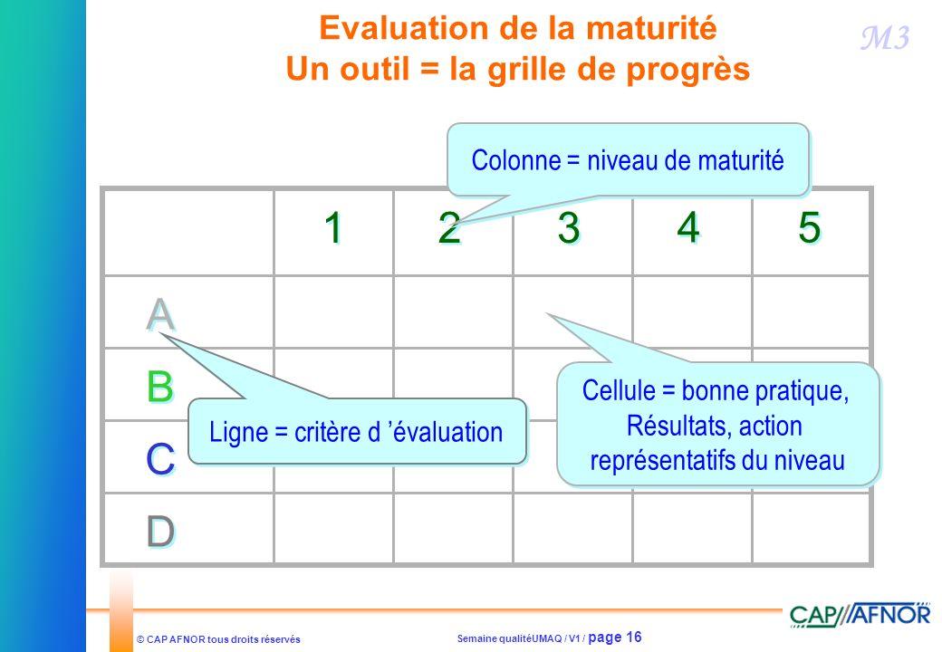 Evaluation de la maturité Un outil = la grille de progrès
