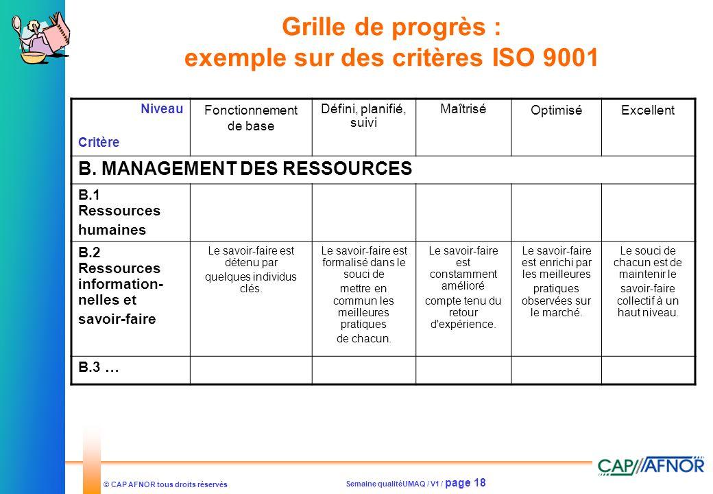 Grille de progrès : exemple sur des critères ISO 9001