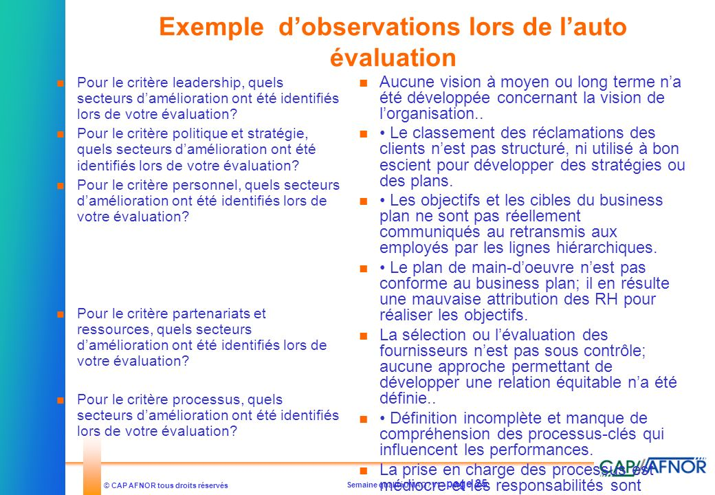 Exemple d'observations lors de l'auto évaluation