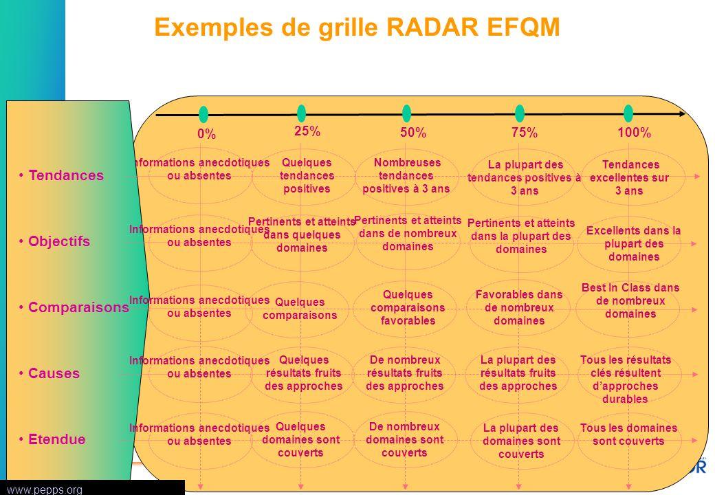 Exemples de grille RADAR EFQM