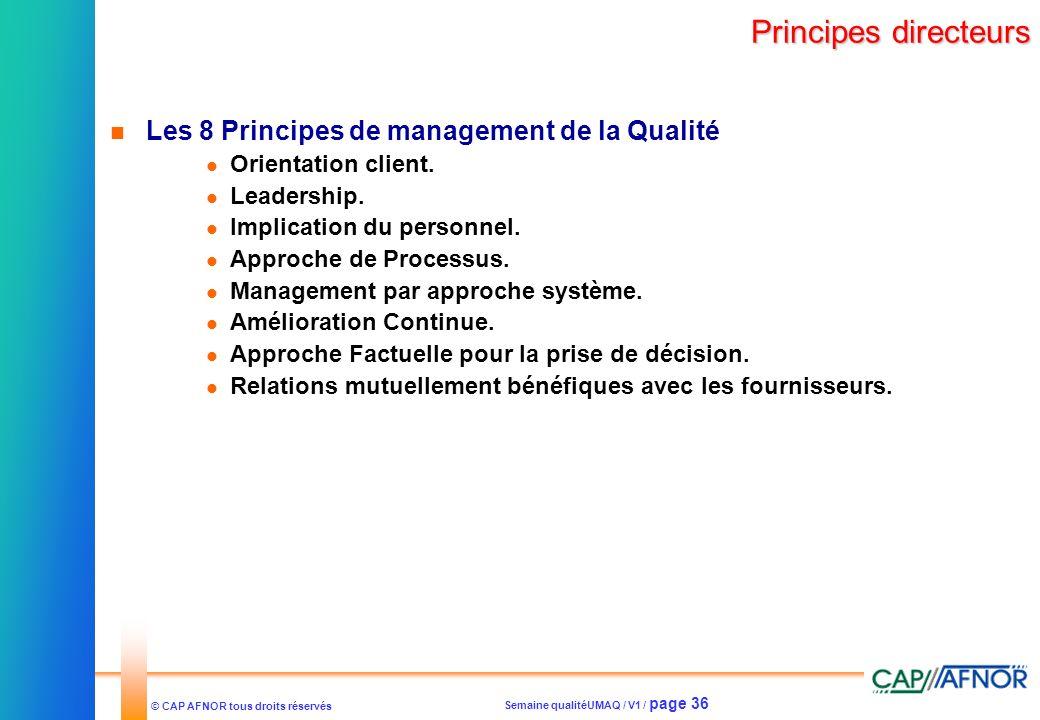 Principes directeurs Les 8 Principes de management de la Qualité