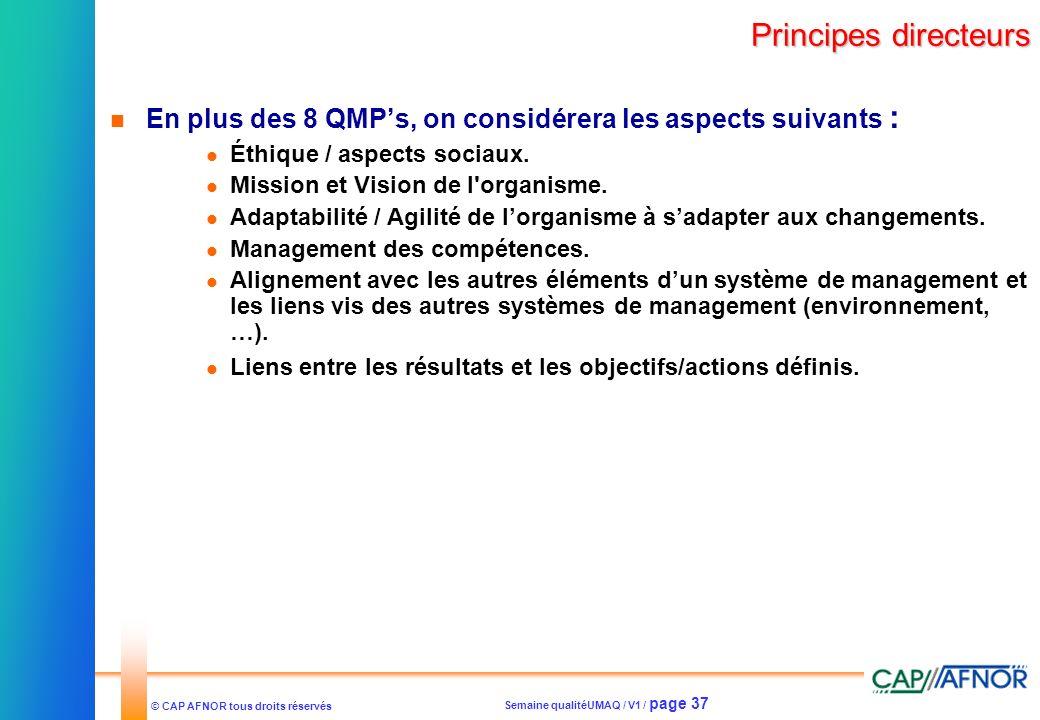 Principes directeursEn plus des 8 QMP's, on considérera les aspects suivants : Éthique / aspects sociaux.