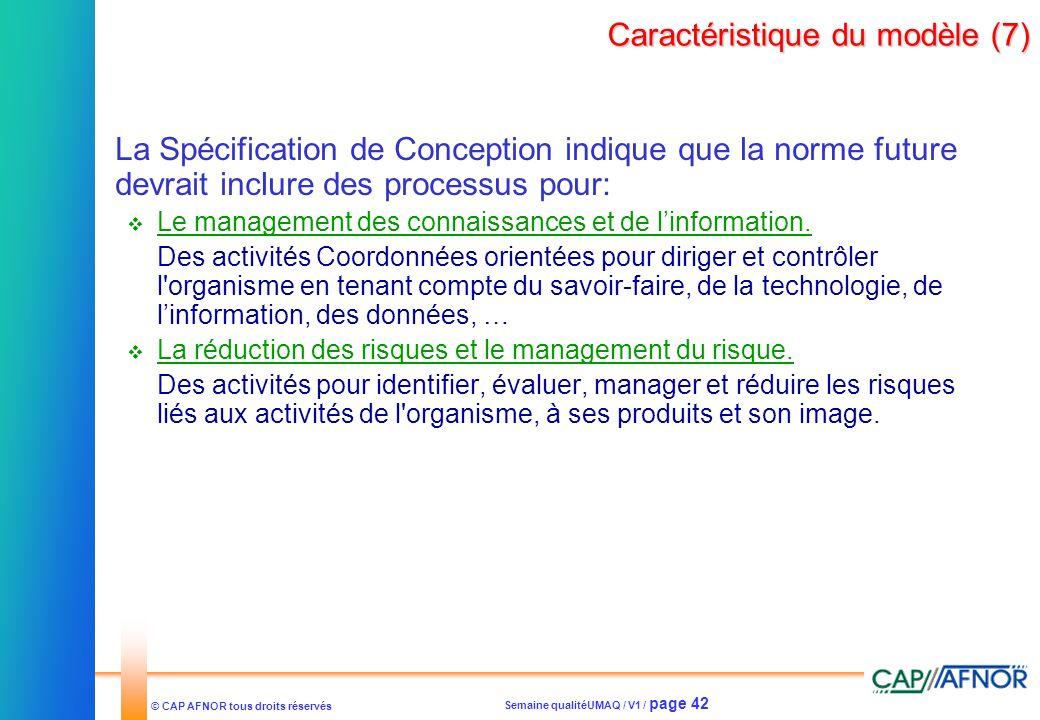Caractéristique du modèle (7)