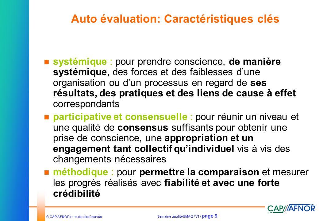 Auto évaluation: Caractéristiques clés