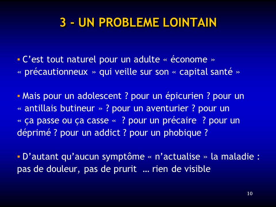 3 - UN PROBLEME LOINTAIN ▪ C'est tout naturel pour un adulte « économe » « précautionneux » qui veille sur son « capital santé »