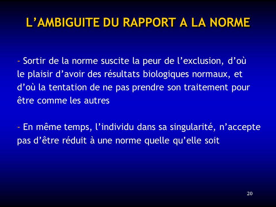 L'AMBIGUITE DU RAPPORT A LA NORME