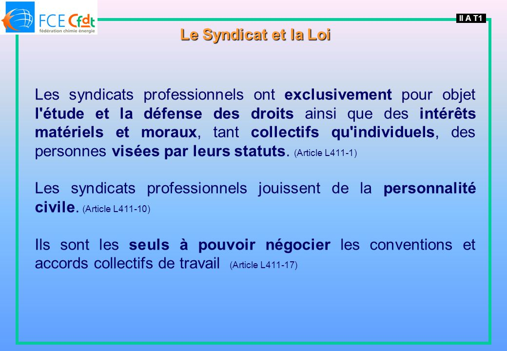 II A T1 Le Syndicat et la Loi.