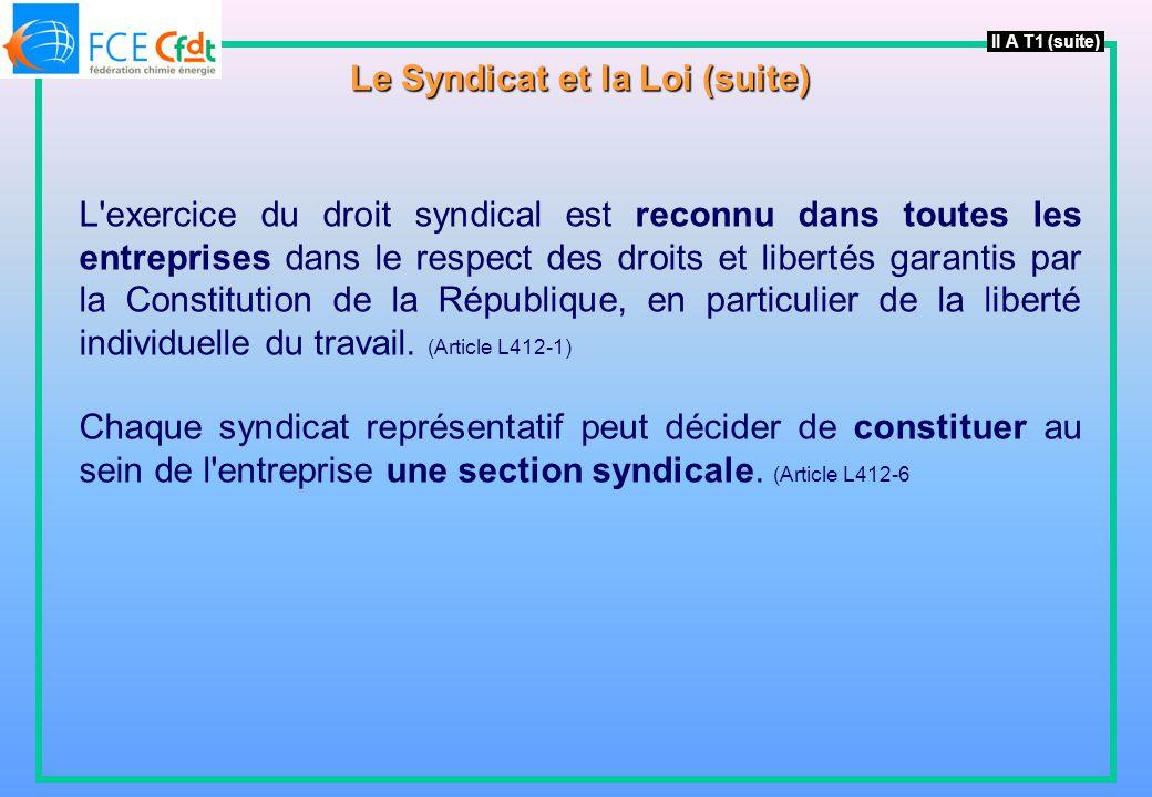 Le Syndicat et la Loi (suite)
