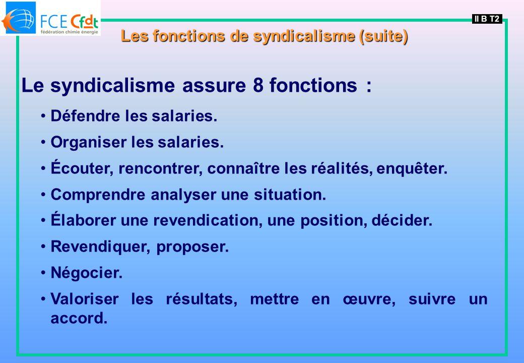 Les fonctions de syndicalisme (suite)