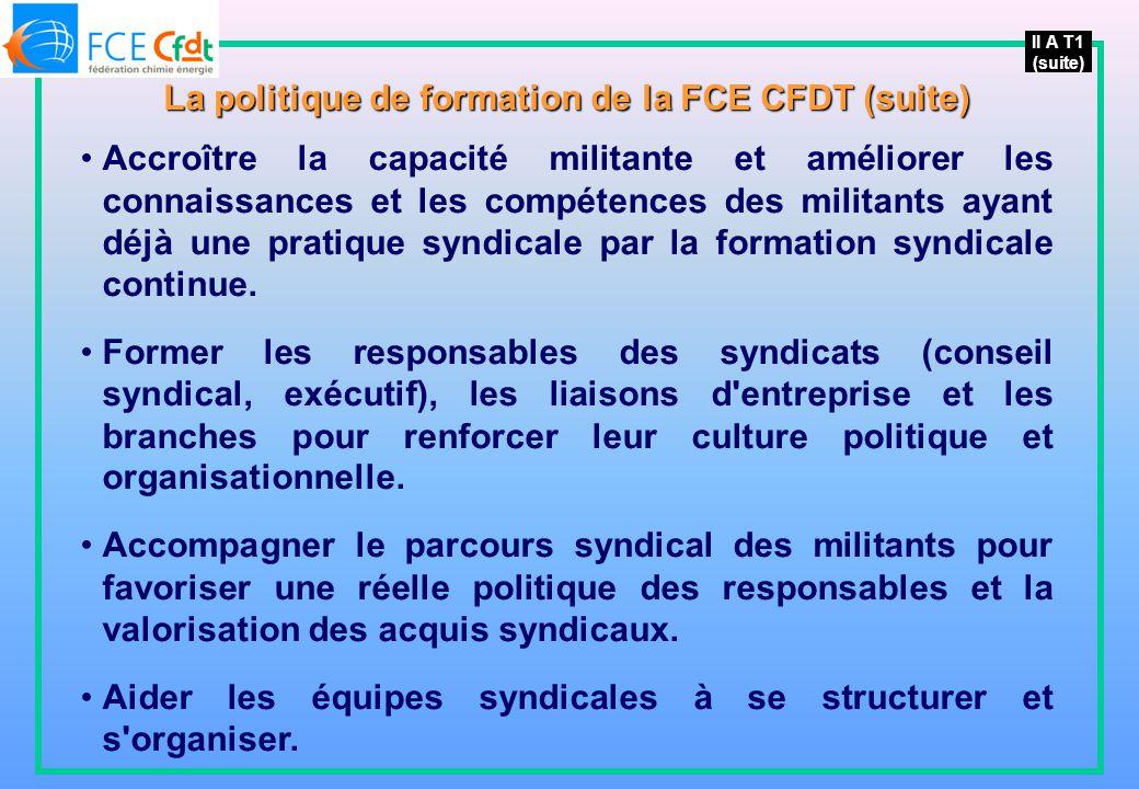 La politique de formation de la FCE CFDT (suite)