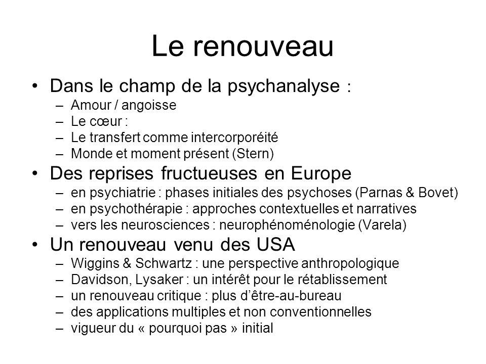 Le renouveau Dans le champ de la psychanalyse :