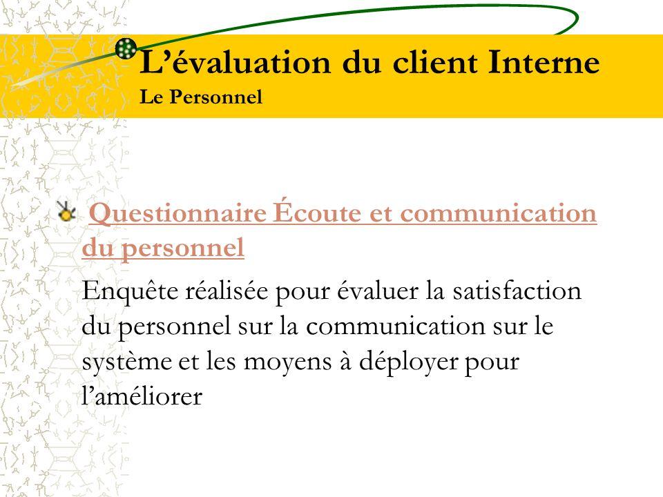 L'évaluation du client Interne Le Personnel