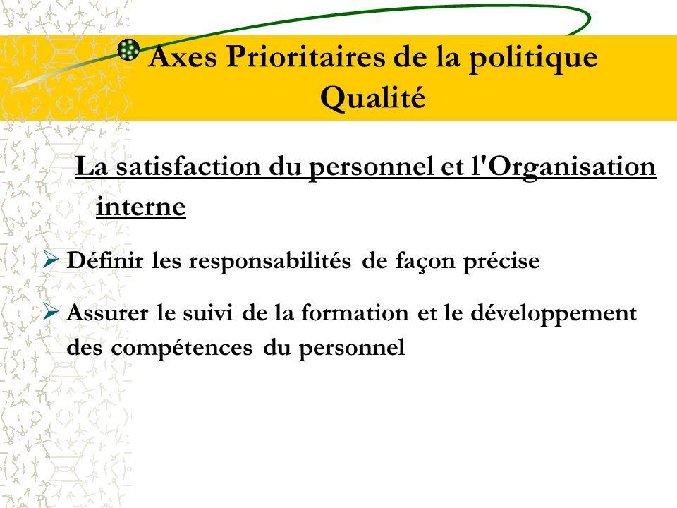 Axes Prioritaires de la politique Qualité