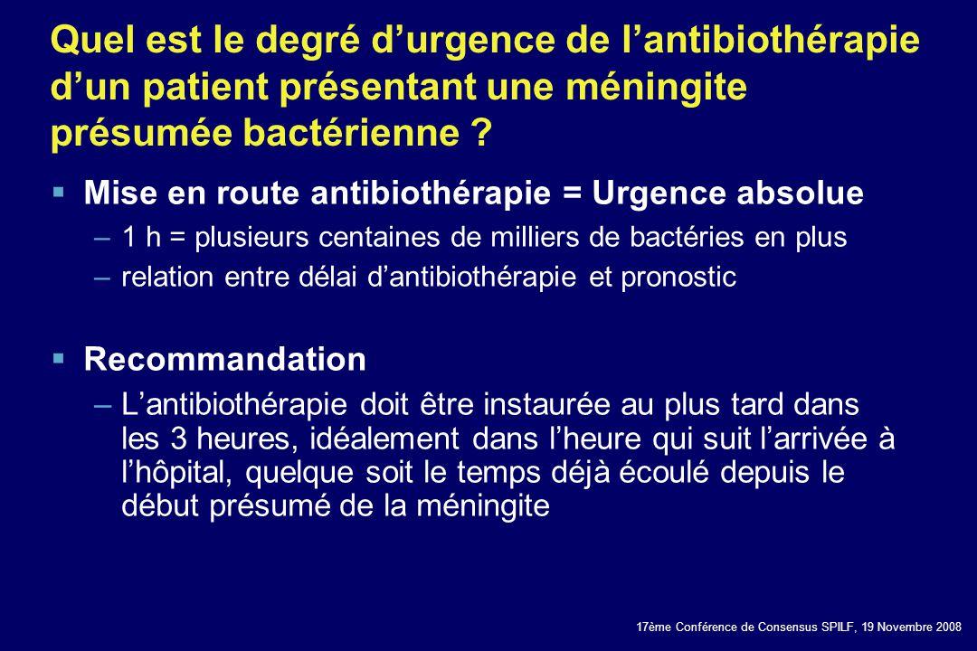 Quel est le degré d'urgence de l'antibiothérapie d'un patient présentant une méningite présumée bactérienne
