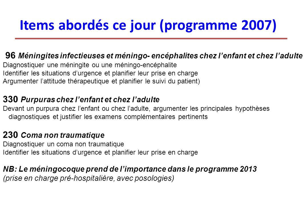 Items abordés ce jour (programme 2007)