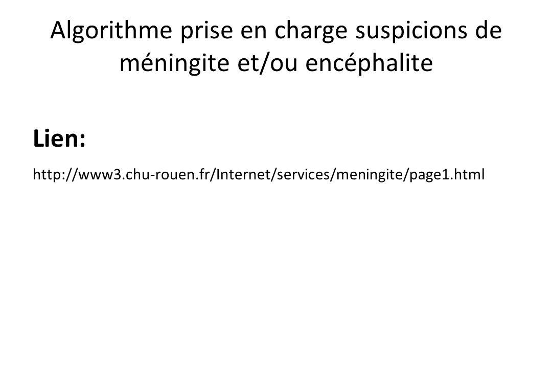 Algorithme prise en charge suspicions de méningite et/ou encéphalite