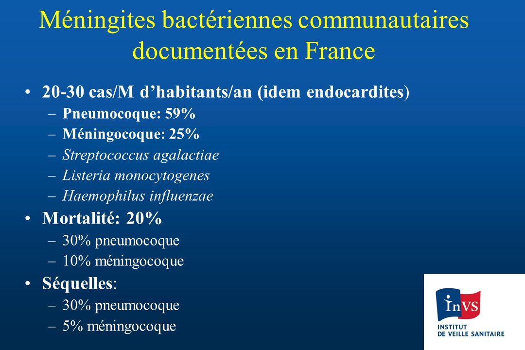 Méningites bactériennes communautaires documentées en France