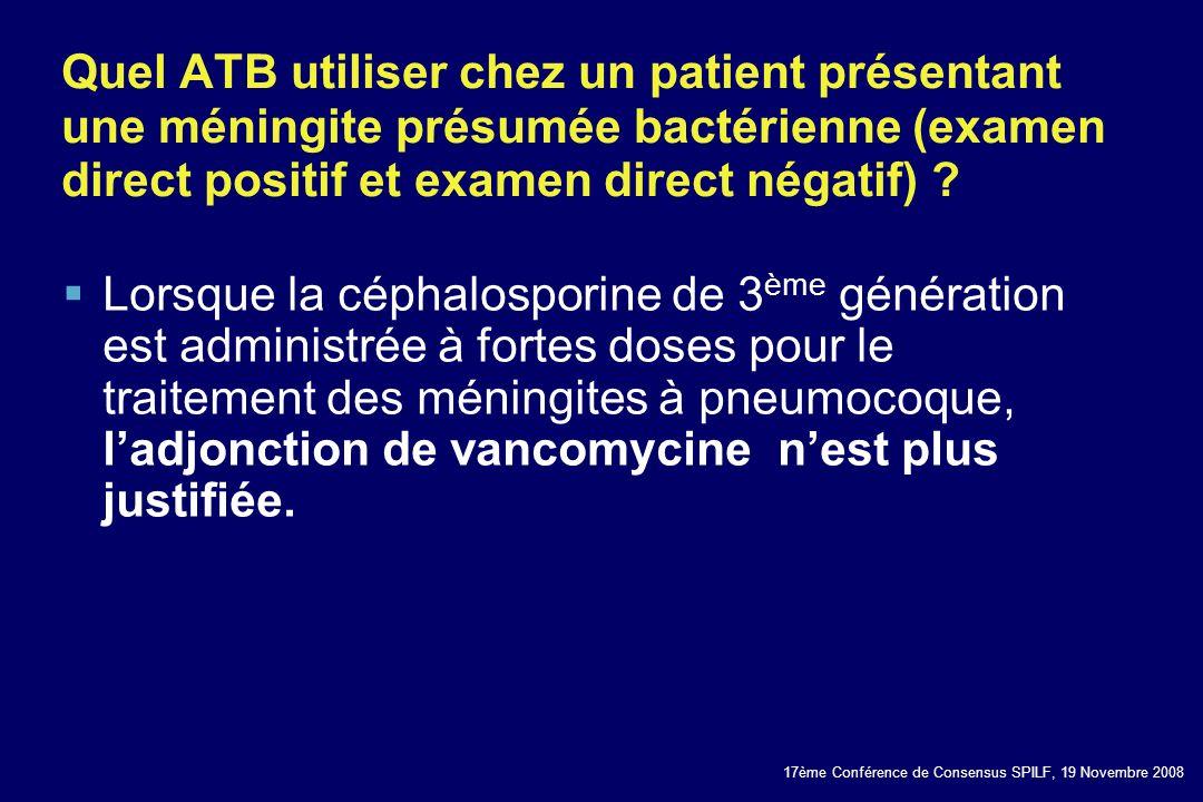 Quel ATB utiliser chez un patient présentant une méningite présumée bactérienne (examen direct positif et examen direct négatif)