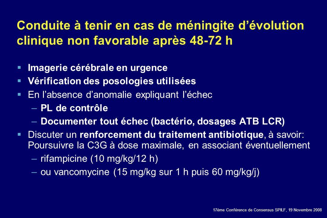 Conduite à tenir en cas de méningite d'évolution clinique non favorable après 48-72 h