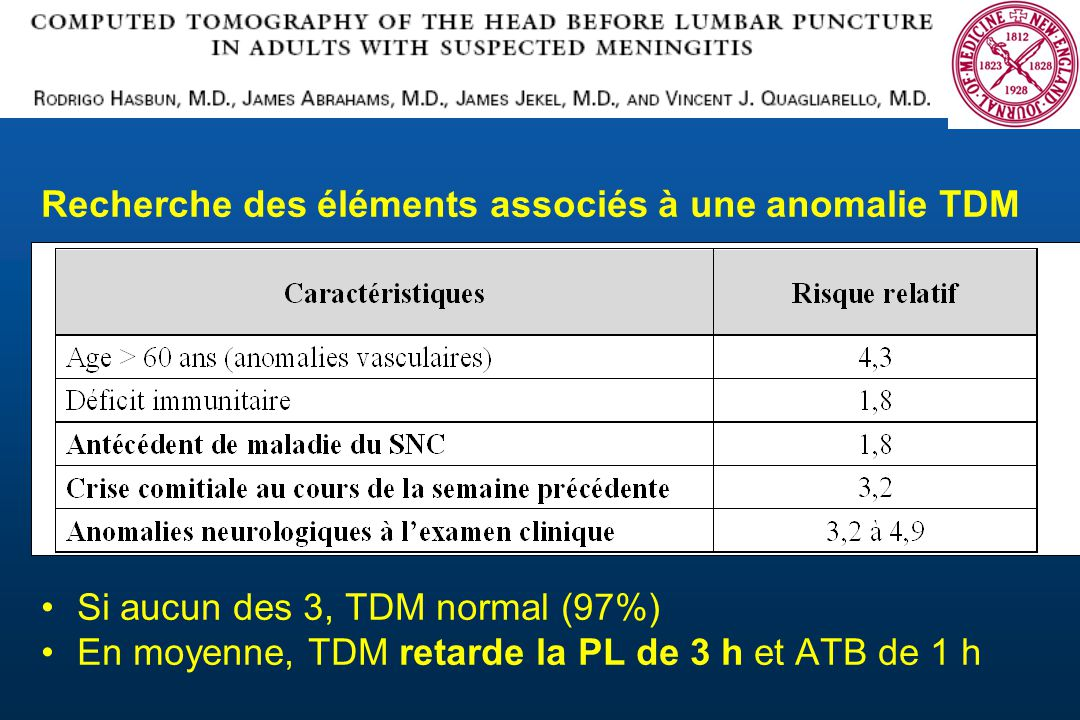Recherche des éléments associés à une anomalie TDM