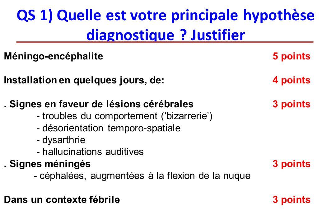 QS 1) Quelle est votre principale hypothèse diagnostique Justifier