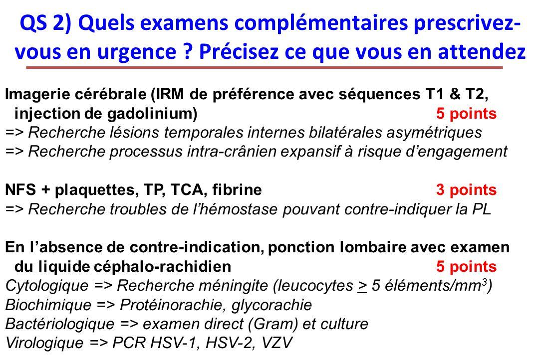 QS 2) Quels examens complémentaires prescrivez-vous en urgence