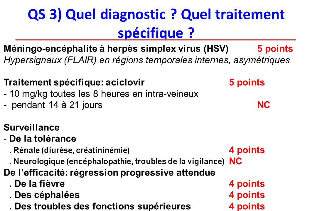 QS 3) Quel diagnostic Quel traitement spécifique
