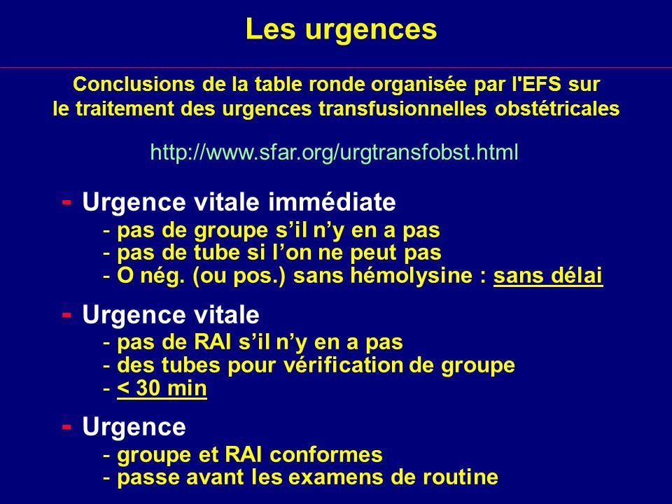 - Urgence vitale immédiate
